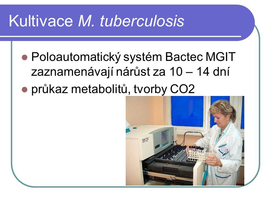 Kultivace M. tuberculosis Poloautomatický systém Bactec MGIT zaznamenávají nárůst za 10 – 14 dní průkaz metabolitů, tvorby CO2