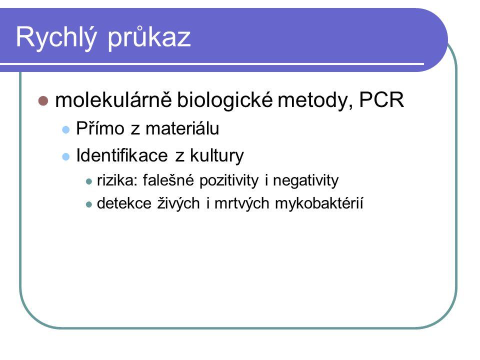 Rychlý průkaz molekulárně biologické metody, PCR Přímo z materiálu Identifikace z kultury rizika: falešné pozitivity i negativity detekce živých i mrt