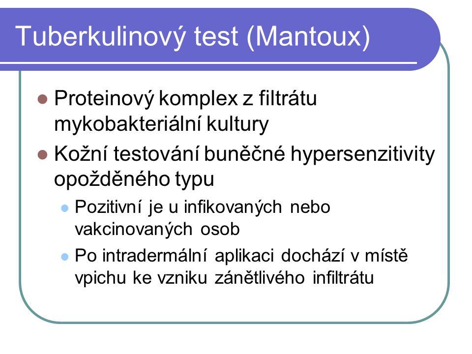Tuberkulinový test (Mantoux) Proteinový komplex z filtrátu mykobakteriální kultury Kožní testování buněčné hypersenzitivity opožděného typu Pozitivní