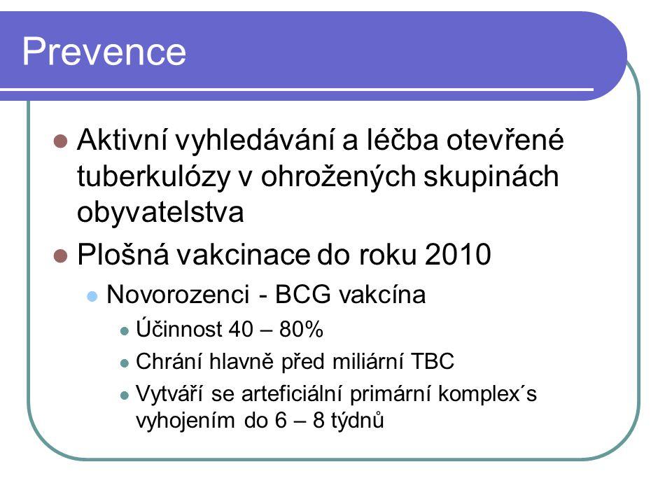 Prevence Aktivní vyhledávání a léčba otevřené tuberkulózy v ohrožených skupinách obyvatelstva Plošná vakcinace do roku 2010 Novorozenci - BCG vakcína
