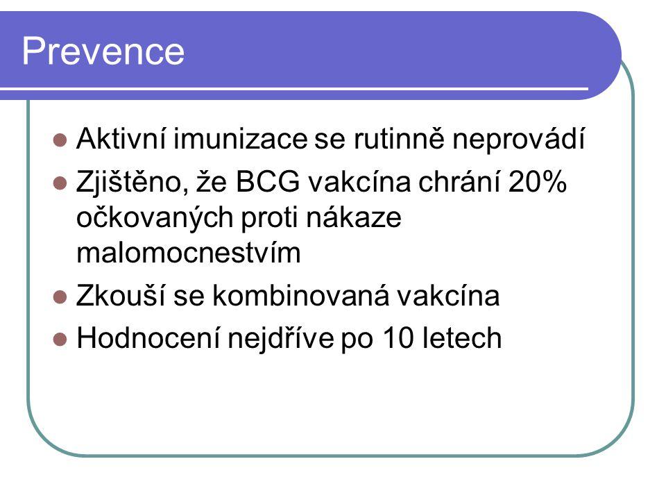 Prevence Aktivní imunizace se rutinně neprovádí Zjištěno, že BCG vakcína chrání 20% očkovaných proti nákaze malomocnestvím Zkouší se kombinovaná vakcí