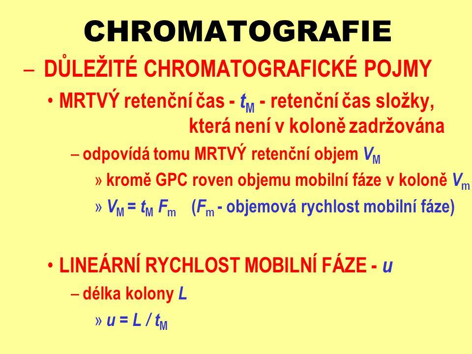 CHROMATOGRAFIE – DŮLEŽITÉ CHROMATOGRAFICKÉ POJMY ZADRŽOVANÉ SLOŽKY - A, B, … J, Z LINEÁRNÍ RYCHLOST ZADRŽOVANÉ SLOŽKY J – u J = L / t R,J – z toho vyplývá RETARDAČNÍ FAKTOR - RELATIVNÍ RETENCE – R F,J = u J / u = ( n J ) m / [( n J ) m + ( n J ) s ] = 1 / [ 1 + k J ] » pravděpodobnost výskytu složky J v mobilní fázi ä k J - kapacitní poměr látky J, daný vztahem ä k J = ( n J ) s / ( n J ) m = K D,J V s / V m k J = ( n J ) s / ( n J ) m