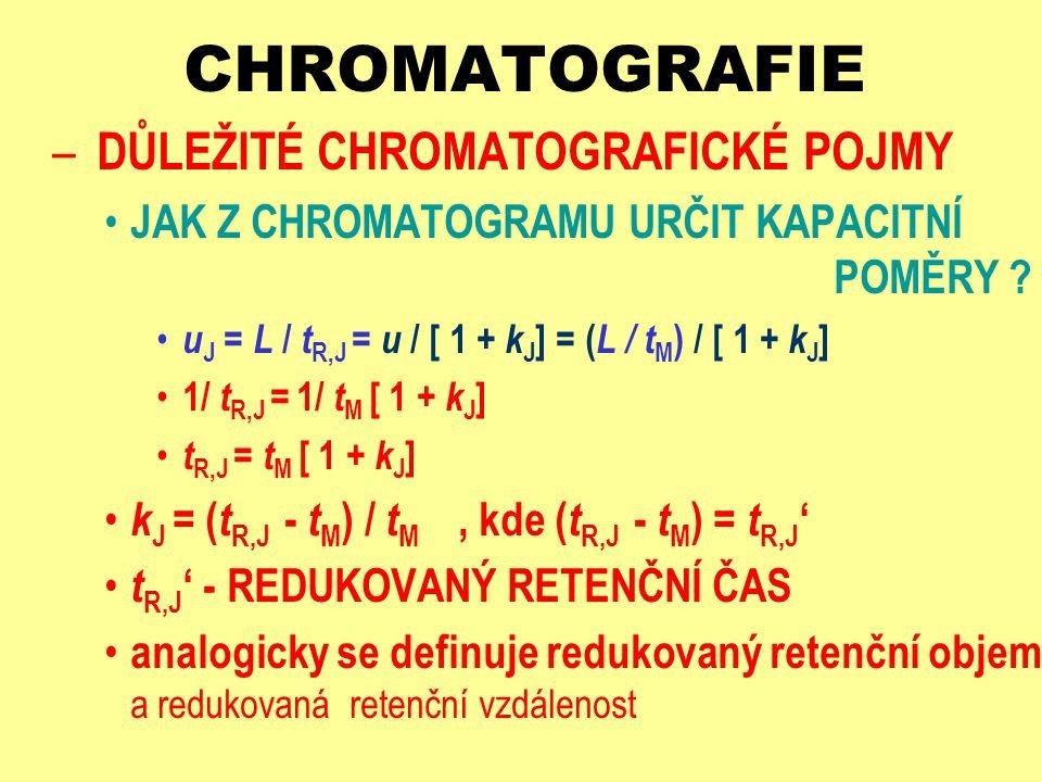 CHROMATOGRAFIE – DŮLEŽITÉ CHROMATOGRAFICKÉ POJMY JAK Z CHROMATOGRAMU URČIT KAPACITNÍ POMĚRY ? u J = L / t R,J = u / [ 1 + k J ] = ( L / t M ) / [ 1 +