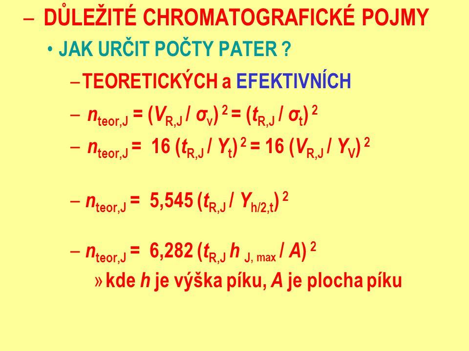 – DŮLEŽITÉ CHROMATOGRAFICKÉ POJMY JAK URČIT POČTY PATER ? – TEORETICKÝCH a EFEKTIVNÍCH – n teor,J = ( V R,J / σ v ) 2 = ( t R,J / σ t ) 2 – n teor,J =