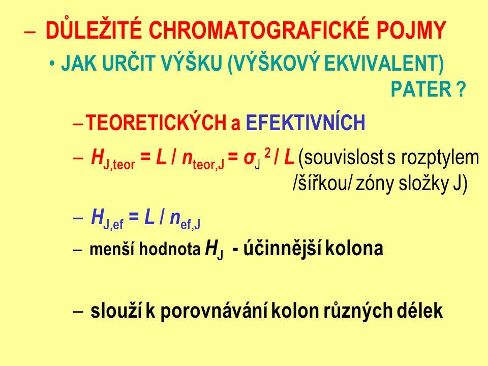 – DŮLEŽITÉ CHROMATOGRAFICKÉ POJMY JAK URČIT VÝŠKU (VÝŠKOVÝ EKVIVALENT) PATER ? – TEORETICKÝCH a EFEKTIVNÍCH – H J,teor = L / n teor,J = σ J 2 / L (sou
