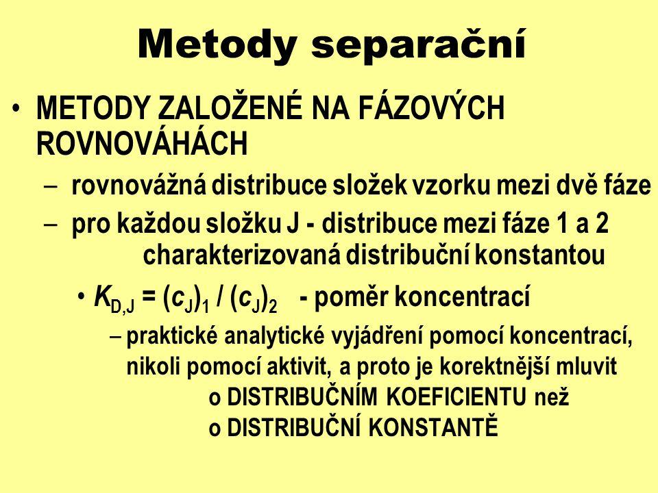 Metody separační METODY ZALOŽENÉ NA FÁZOVÝCH ROVNOVÁHÁCH – rovnovážná distribuce složek vzorku mezi dvě fáze – popis KAPACITNÍM POMĚREM k J - poměr látkových množství – k J = ( n J ) 1 / ( n J ) 2 = [( c J ) 1 V 1 ] / [( c J ) 2 V 2 ] = K D,J V 1 / V 2 – obvyklejší popis v chromatografii označení tam též jako KAPACITNÍ (RETENČNÍ) FAKTOR