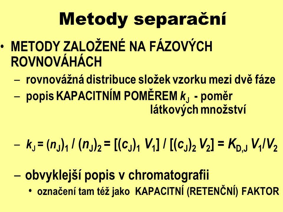 Metody separační METODY ZALOŽENÉ NA FÁZOVÝCH ROVNOVÁHÁCH – mají-li se látky dělit - musí se lišit jim odpovídající hodnoty K D,J resp.