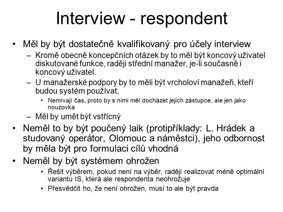 Interview - respondent Měl by být dostatečně kvalifikovaný pro účely interview –Kromě obecně koncepčních otázek by to měl být koncový uživatel diskutované funkce, raději střední manažer, je-li současně i koncový uživatel.