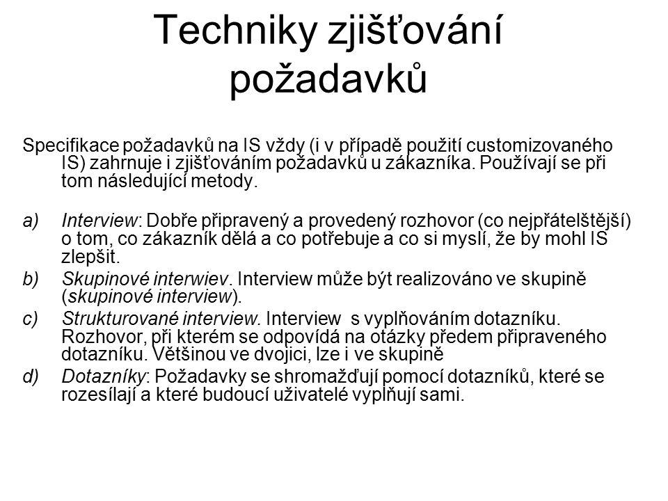 Techniky zjišťování požadavků e) Studium dokumentů resp.