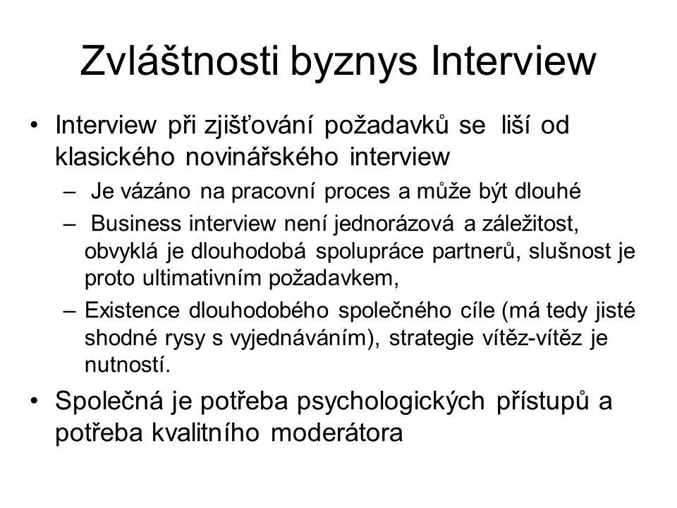 Zvláštnosti byznys Interview Interview při zjišťování požadavků se liší od klasického novinářského interview – Je vázáno na pracovní proces a může být dlouhé – Business interview není jednorázová a záležitost, obvyklá je dlouhodobá spolupráce partnerů, slušnost je proto ultimativním požadavkem, –Existence dlouhodobého společného cíle (má tedy jisté shodné rysy s vyjednáváním), strategie vítěz-vítěz je nutností.