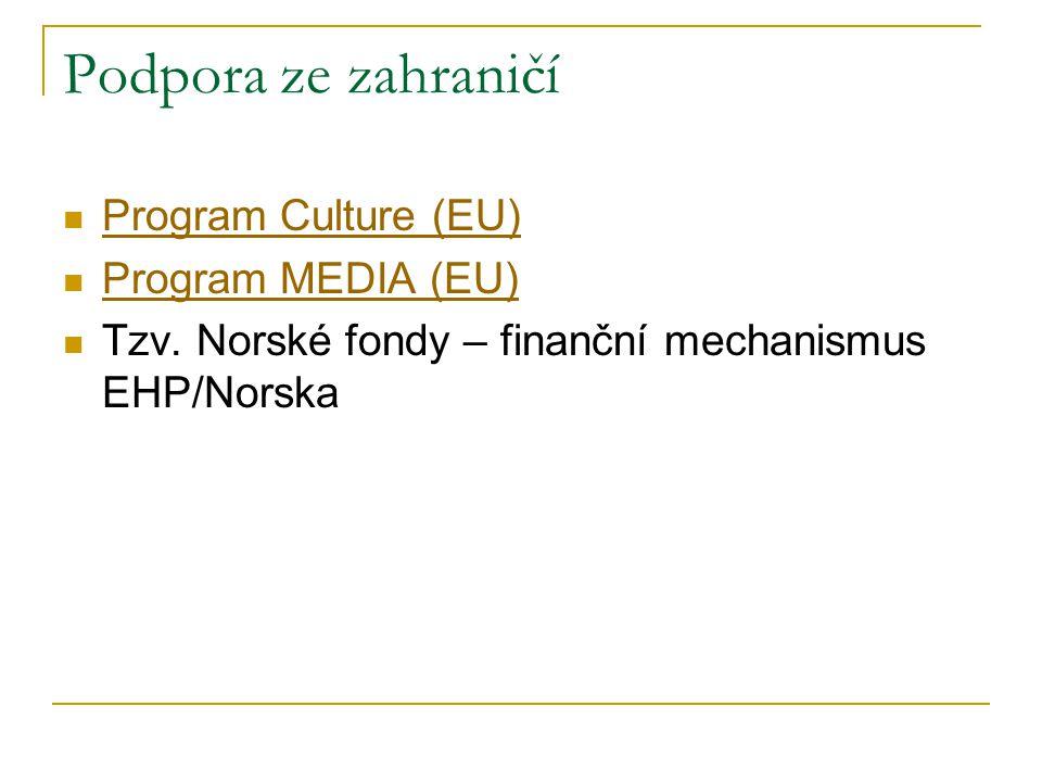 Podpora ze zahraničí Program Culture (EU) Program MEDIA (EU) Tzv.