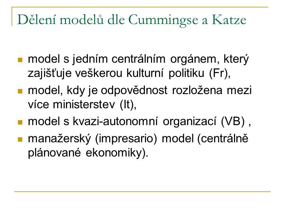 Dělení modelů dle Cummingse a Katze model s jedním centrálním orgánem, který zajišťuje veškerou kulturní politiku (Fr), model, kdy je odpovědnost rozložena mezi více ministerstev (It), model s kvazi-autonomní organizací (VB), manažerský (impresario) model (centrálně plánované ekonomiky).