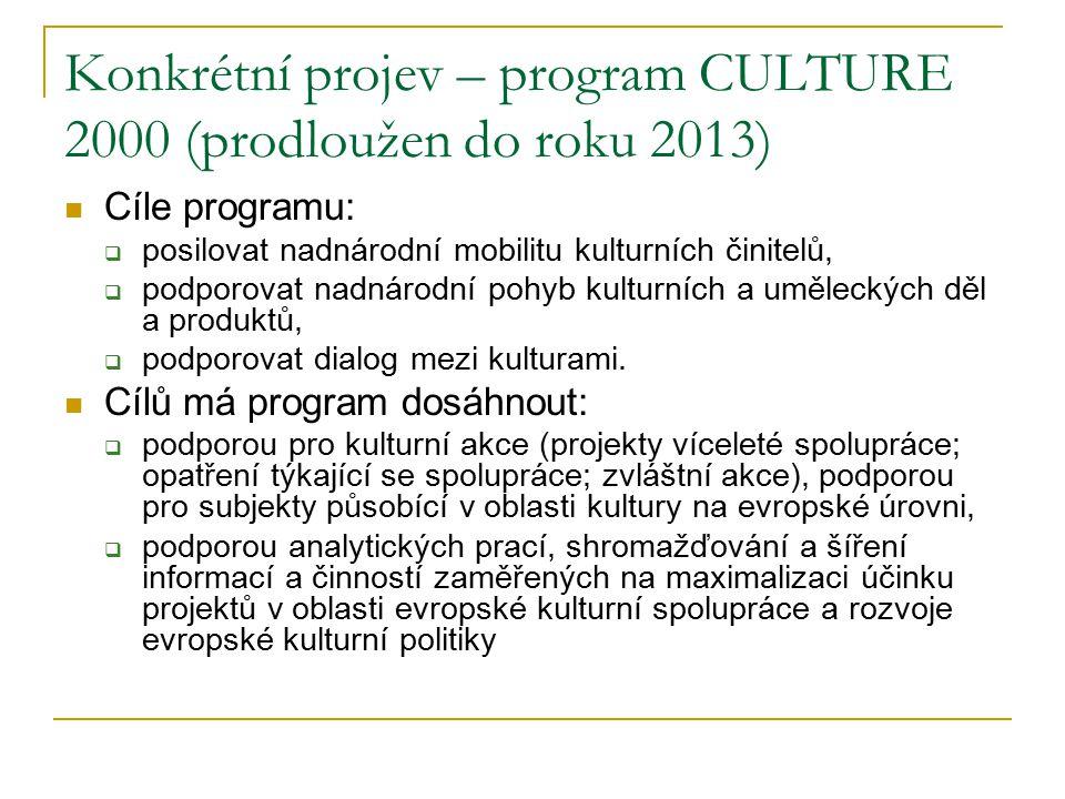 Konkrétní projev – program CULTURE 2000 (prodloužen do roku 2013) Cíle programu:  posilovat nadnárodní mobilitu kulturních činitelů,  podporovat nadnárodní pohyb kulturních a uměleckých děl a produktů,  podporovat dialog mezi kulturami.