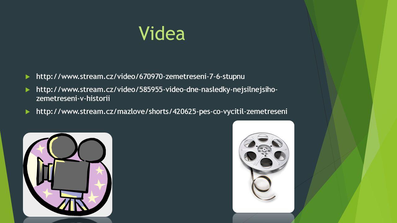 Videa  http://www.stream.cz/video/670970-zemetreseni-7-6-stupnu  http://www.stream.cz/video/585955-video-dne-nasledky-nejsilnejsiho- zemetreseni-v-h