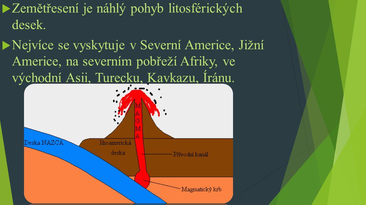  Zemětřesení je náhlý pohyb litosférických desek.  Nejvíce se vyskytuje v Severní Americe, Jižní Americe, na severním pobřeží Afriky, ve východní As