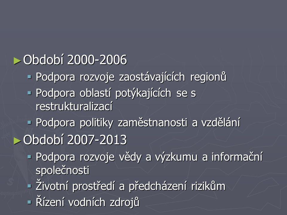 ► Období 2000-2006  Podpora rozvoje zaostávajících regionů  Podpora oblastí potýkajících se s restrukturalizací  Podpora politiky zaměstnanosti a vzdělání ► Období 2007-2013  Podpora rozvoje vědy a výzkumu a informační společnosti  Životní prostředí a předcházení rizikům  Řízení vodních zdrojů
