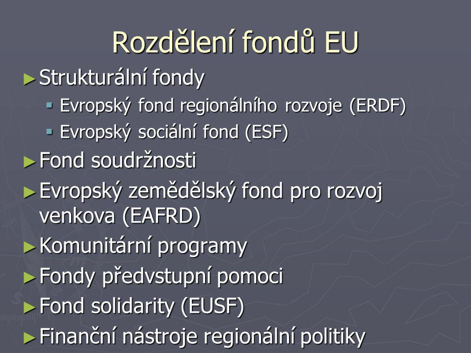 ► Strukturální fondy  Evropský fond regionálního rozvoje (ERDF)  Evropský sociální fond (ESF) ► Fond soudržnosti ► Evropský zemědělský fond pro rozvoj venkova (EAFRD) ► Komunitární programy ► Fondy předvstupní pomoci ► Fond solidarity (EUSF) ► Finanční nástroje regionální politiky Rozdělení fondů EU