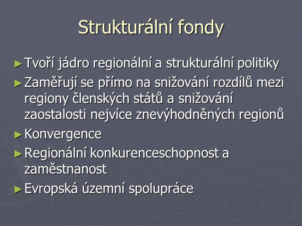 Strukturální fondy ► Tvoří jádro regionální a strukturální politiky ► Zaměřují se přímo na snižování rozdílů mezi regiony členských států a snižování zaostalosti nejvíce znevýhodněných regionů ► Konvergence ► Regionální konkurenceschopnost a zaměstnanost ► Evropská územní spolupráce