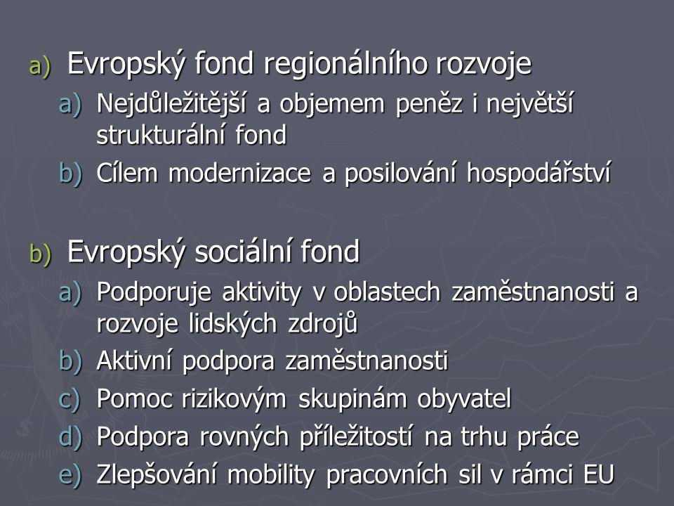 a) Evropský fond regionálního rozvoje a)Nejdůležitější a objemem peněz i největší strukturální fond b)Cílem modernizace a posilování hospodářství b) Evropský sociální fond a)Podporuje aktivity v oblastech zaměstnanosti a rozvoje lidských zdrojů b)Aktivní podpora zaměstnanosti c)Pomoc rizikovým skupinám obyvatel d)Podpora rovných příležitostí na trhu práce e)Zlepšování mobility pracovních sil v rámci EU