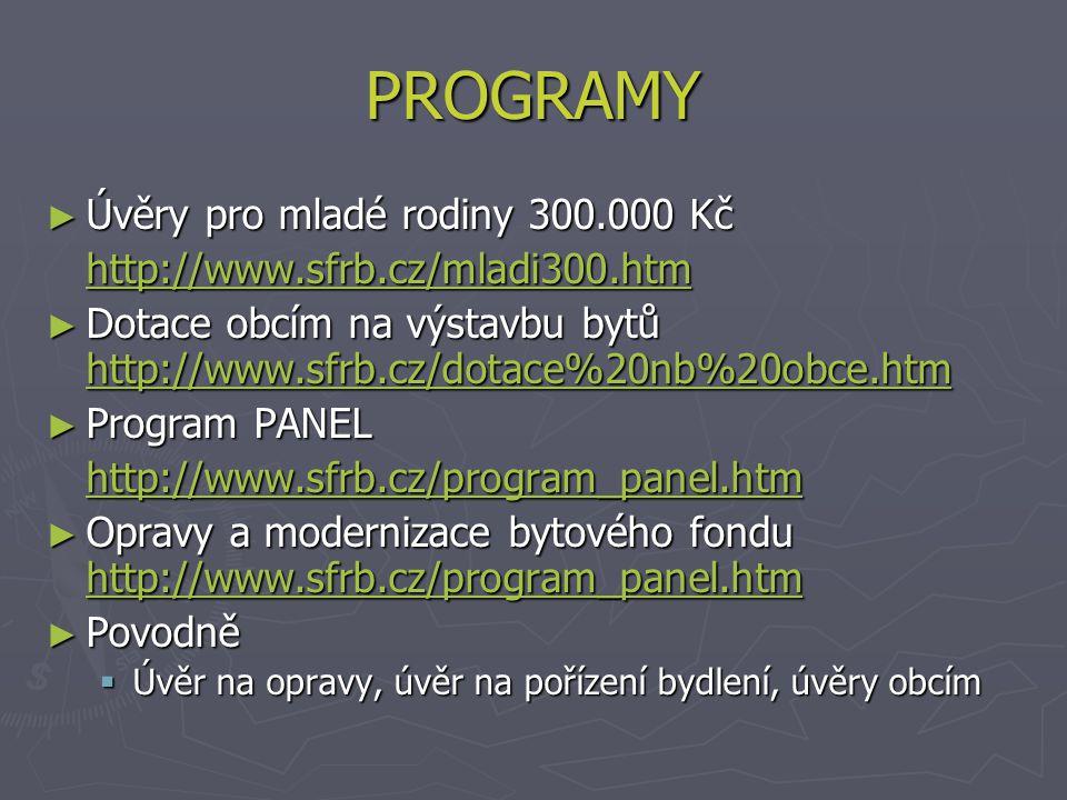 PROGRAMY ► Úvěry pro mladé rodiny 300.000 Kč http://www.sfrb.cz/mladi300.htm ► Dotace obcím na výstavbu bytů http://www.sfrb.cz/dotace%20nb%20obce.htm http://www.sfrb.cz/dotace%20nb%20obce.htm ► Program PANEL http://www.sfrb.cz/program_panel.htm ► Opravy a modernizace bytového fondu http://www.sfrb.cz/program_panel.htm http://www.sfrb.cz/program_panel.htm ► Povodně  Úvěr na opravy, úvěr na pořízení bydlení, úvěry obcím