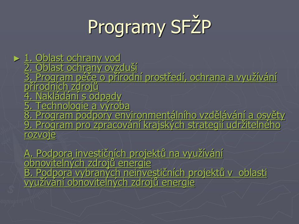 Programy SFŽP ► 1.Oblast ochrany vod 2. Oblast ochrany ovzduší 3.