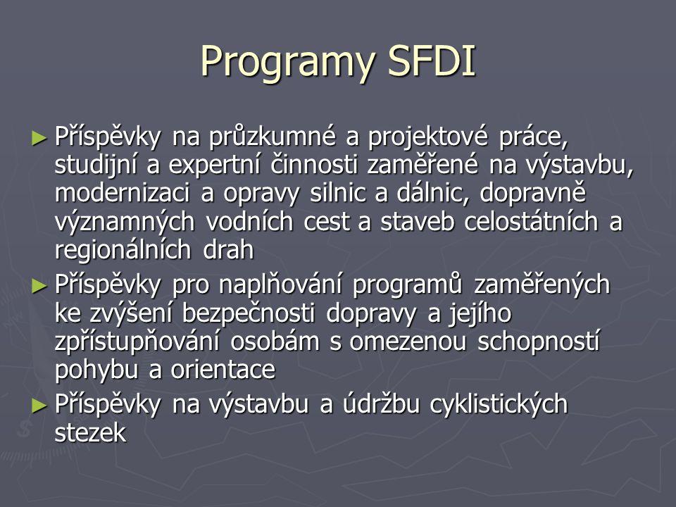 Programy SFDI ► Příspěvky na průzkumné a projektové práce, studijní a expertní činnosti zaměřené na výstavbu, modernizaci a opravy silnic a dálnic, dopravně významných vodních cest a staveb celostátních a regionálních drah ► Příspěvky pro naplňování programů zaměřených ke zvýšení bezpečnosti dopravy a jejího zpřístupňování osobám s omezenou schopností pohybu a orientace ► Příspěvky na výstavbu a údržbu cyklistických stezek