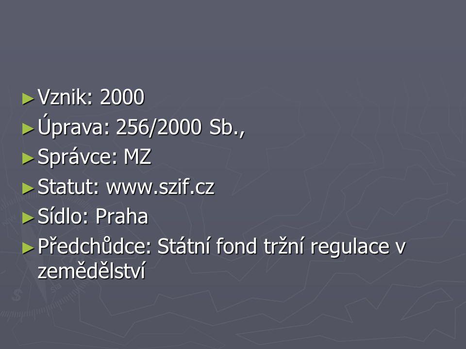 ► Vznik: 2000 ► Úprava: 256/2000 Sb., ► Správce: MZ ► Statut: www.szif.cz ► Sídlo: Praha ► Předchůdce: Státní fond tržní regulace v zemědělství