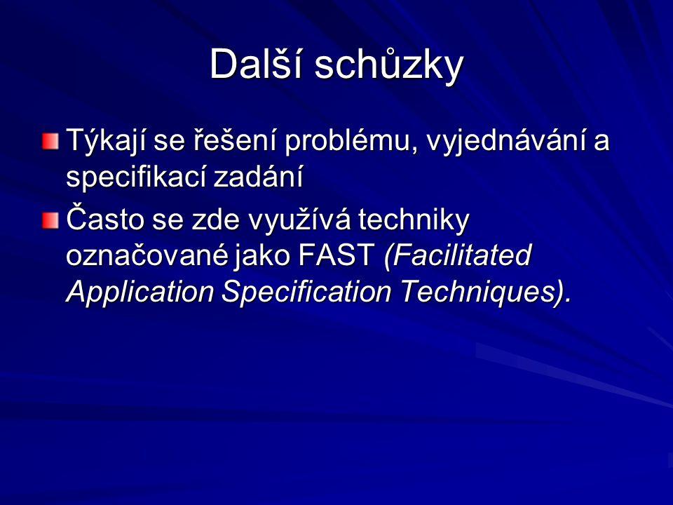 Další schůzky Týkají se řešení problému, vyjednávání a specifikací zadání Často se zde využívá techniky označované jako FAST (Facilitated Application Specification Techniques).