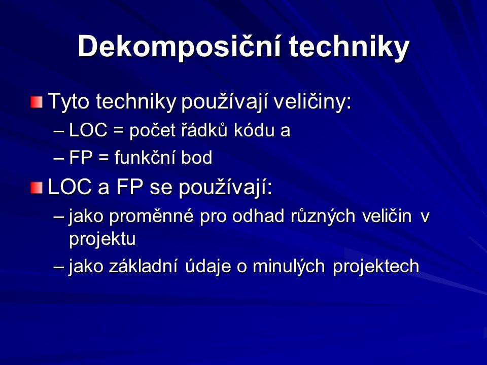 Dekomposiční techniky Tyto techniky používají veličiny: –LOC = počet řádků kódu a –FP = funkční bod LOC a FP se používají: –jako proměnné pro odhad různých veličin v projektu –jako základní údaje o minulých projektech