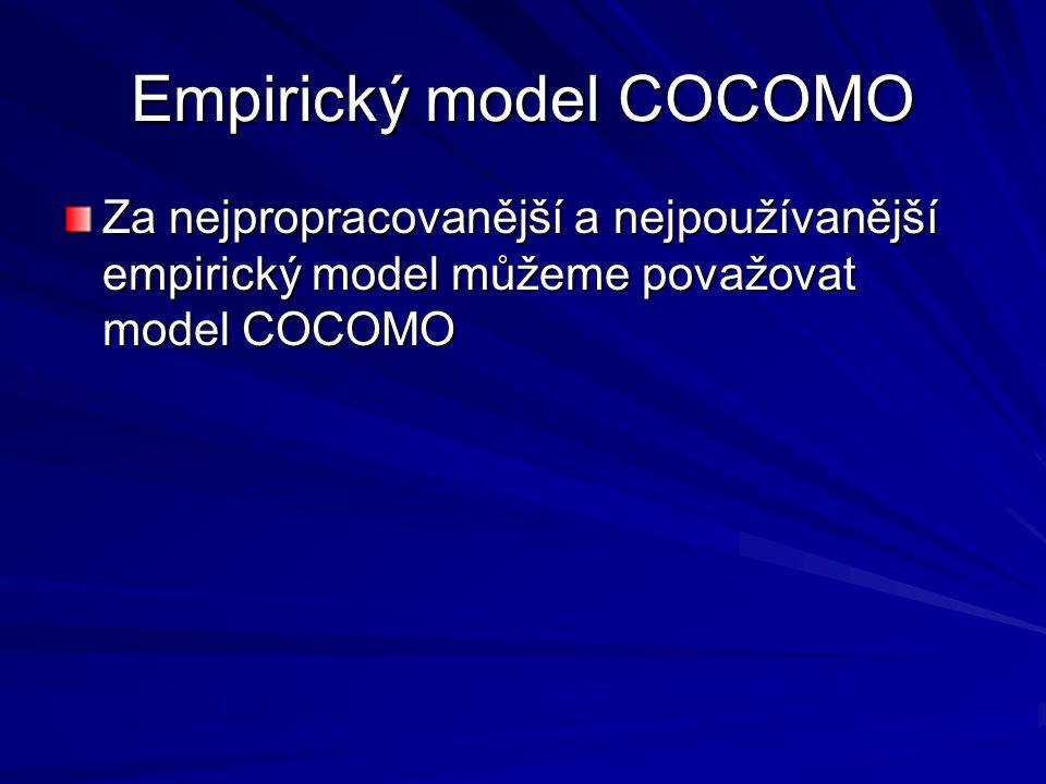 Empirický model COCOMO Za nejpropracovanější a nejpoužívanější empirický model můžeme považovat model COCOMO