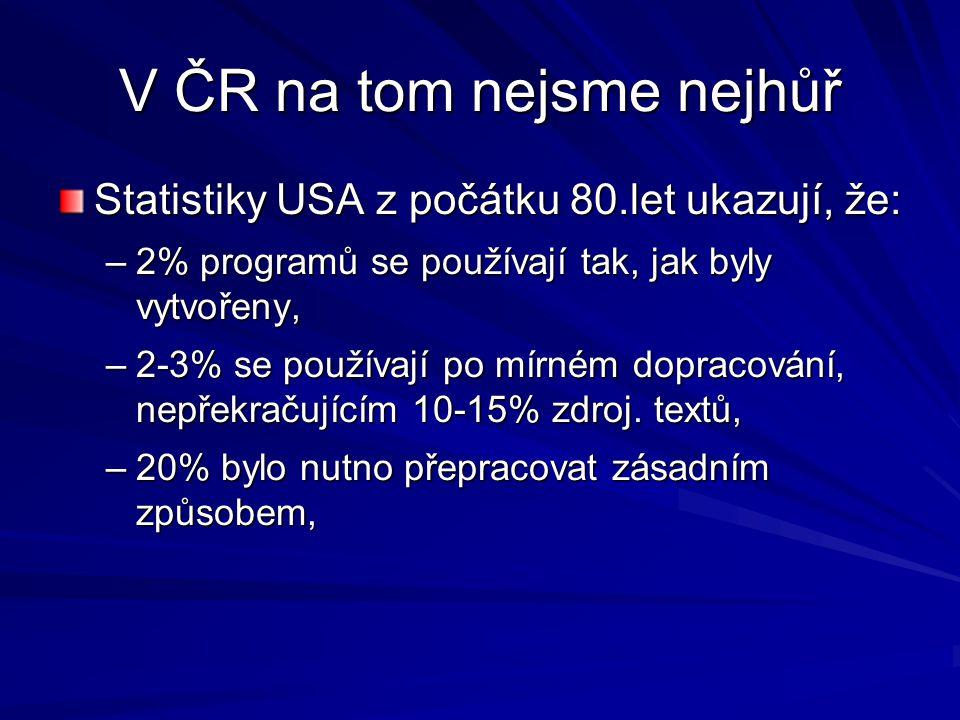 V ČR na tom nejsme nejhůř Statistiky USA z počátku 80.let ukazují, že: –2% programů se používají tak, jak byly vytvořeny, –2-3% se používají po mírném dopracování, nepřekračujícím 10-15% zdroj.