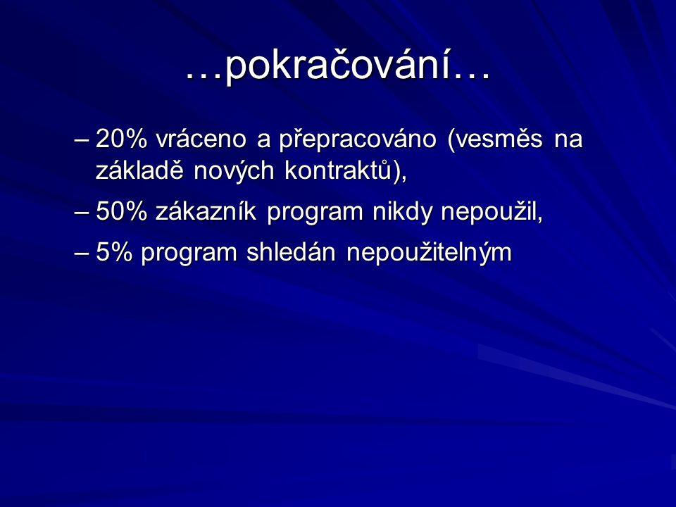 …pokračování… –20% vráceno a přepracováno (vesměs na základě nových kontraktů), –50% zákazník program nikdy nepoužil, –5% program shledán nepoužitelným