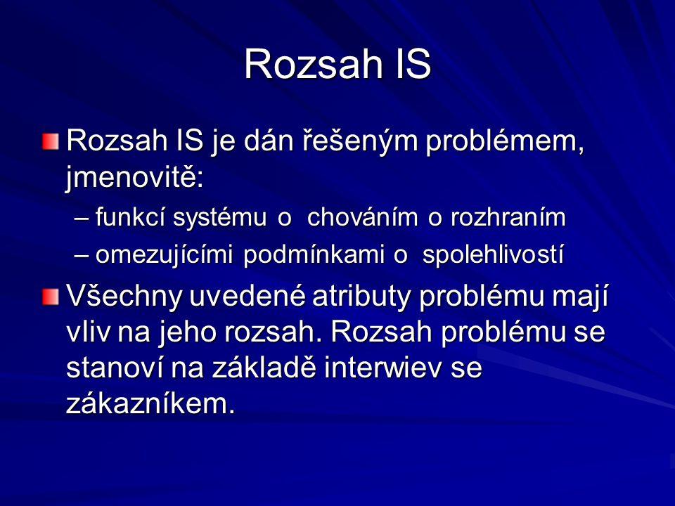 Rozsah IS Rozsah IS je dán řešeným problémem, jmenovitě: –funkcí systému o chováním o rozhraním –omezujícími podmínkami o spolehlivostí Všechny uvedené atributy problému mají vliv na jeho rozsah.
