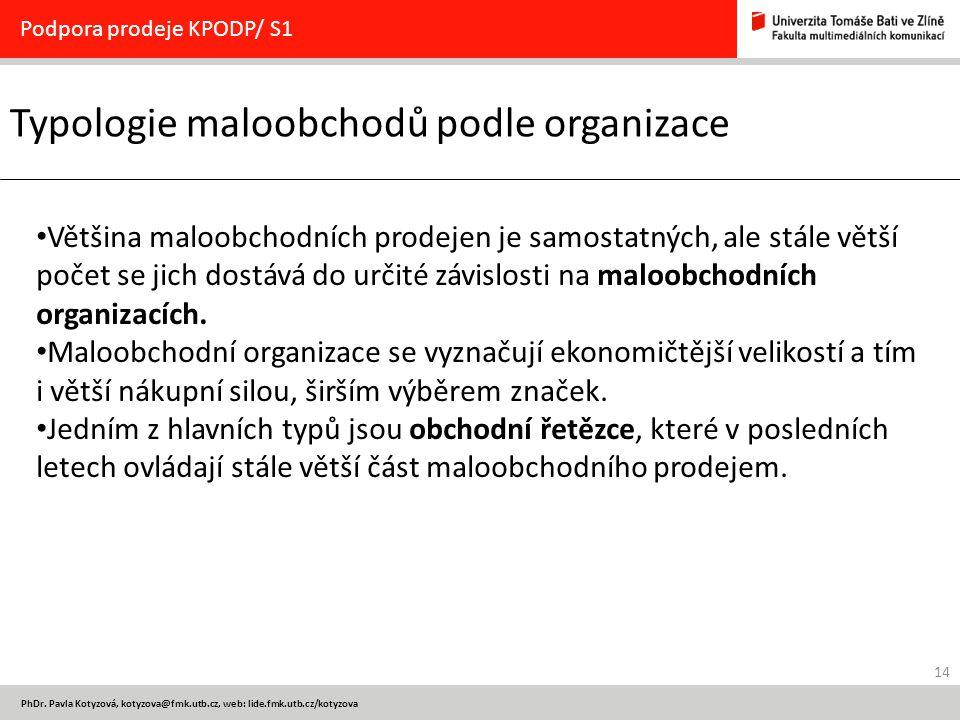 14 PhDr. Pavla Kotyzová, kotyzova@fmk.utb.cz, web: lide.fmk.utb.cz/kotyzova Typologie maloobchodů podle organizace Podpora prodeje KPODP/ S1 Většina m