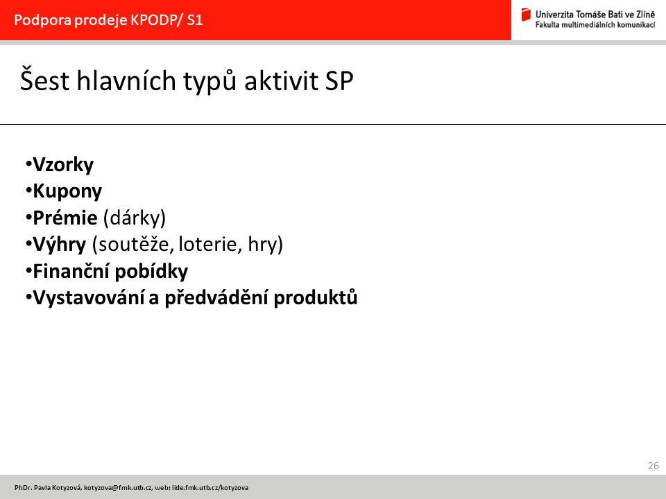 26 PhDr. Pavla Kotyzová, kotyzova@fmk.utb.cz, web: lide.fmk.utb.cz/kotyzova Šest hlavních typů aktivit SP Podpora prodeje KPODP/ S1 Vzorky Kupony Prém