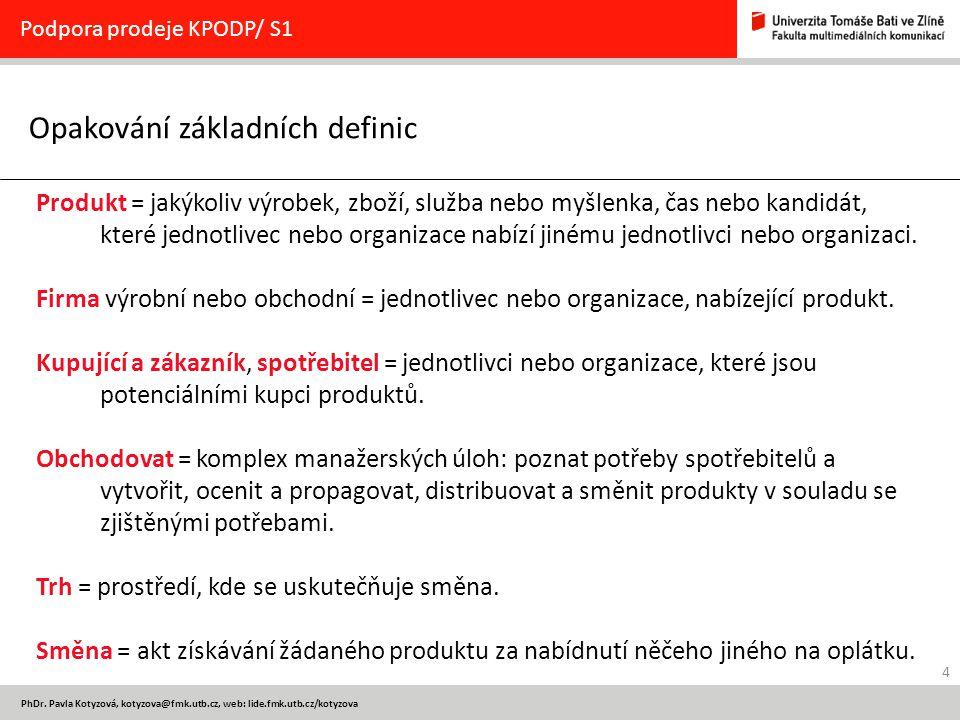 4 PhDr. Pavla Kotyzová, kotyzova@fmk.utb.cz, web: lide.fmk.utb.cz/kotyzova Opakování základních definic Podpora prodeje KPODP/ S1 Produkt = jakýkoliv