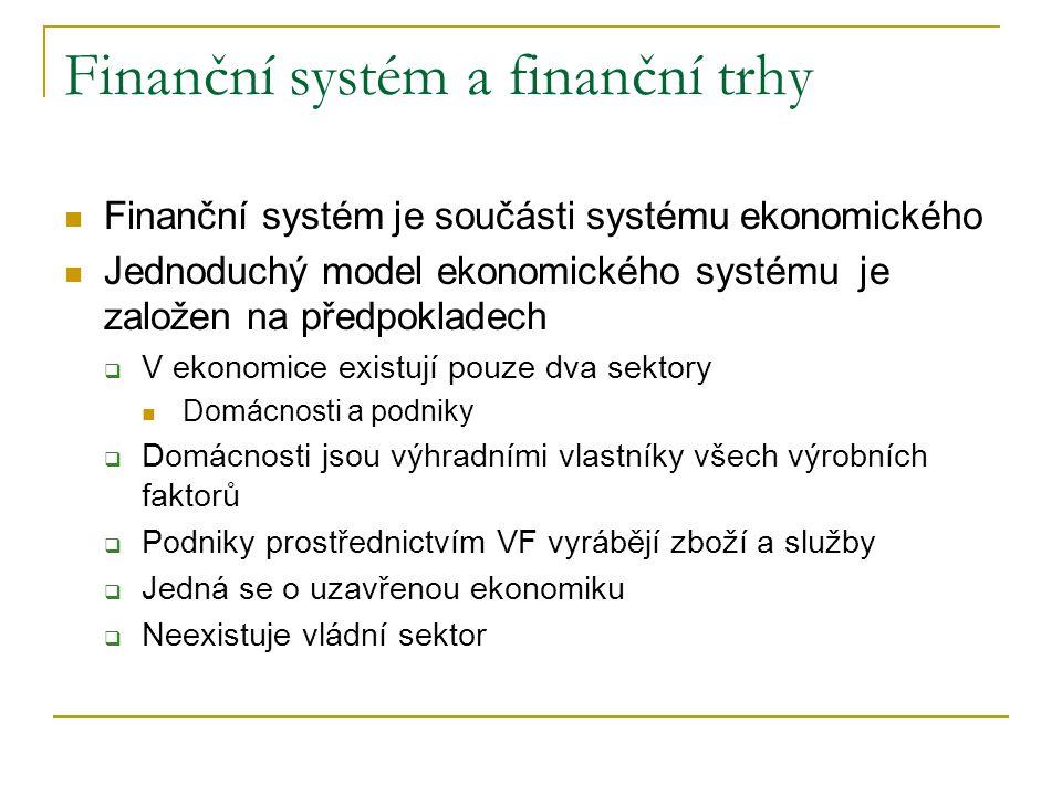 Finanční systém a finanční trhy Finanční systém je součásti systému ekonomického Jednoduchý model ekonomického systému je založen na předpokladech  V
