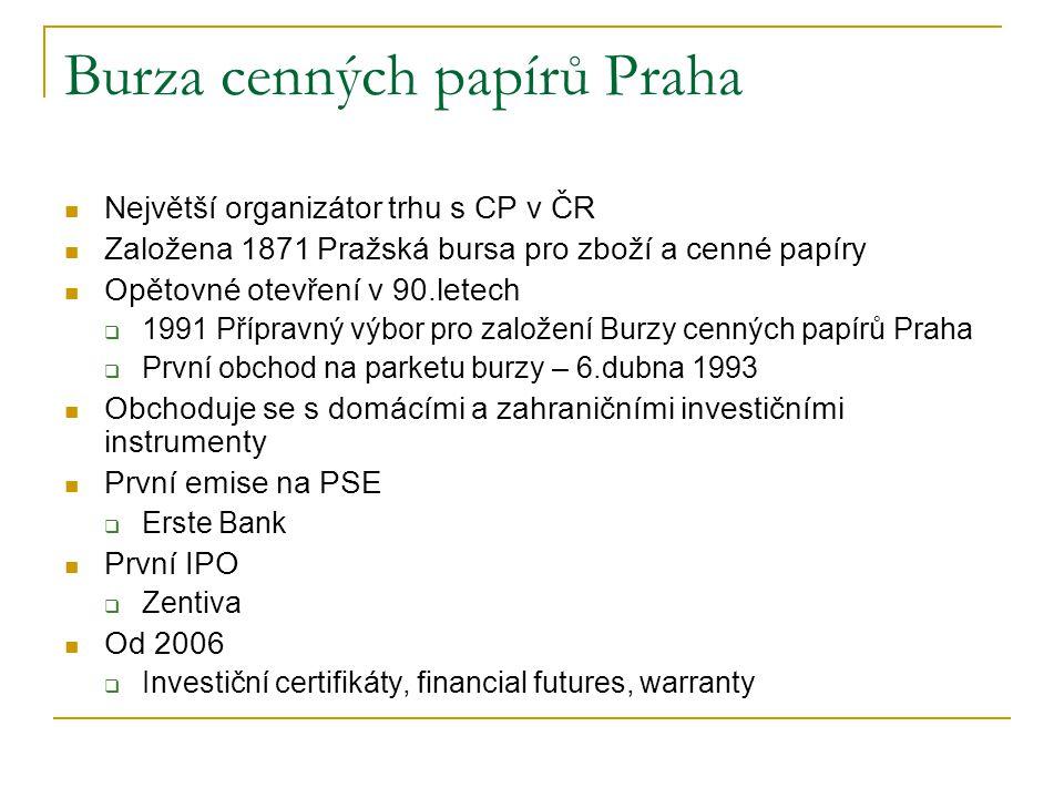 Burza cenných papírů Praha Největší organizátor trhu s CP v ČR Založena 1871 Pražská bursa pro zboží a cenné papíry Opětovné otevření v 90.letech  19