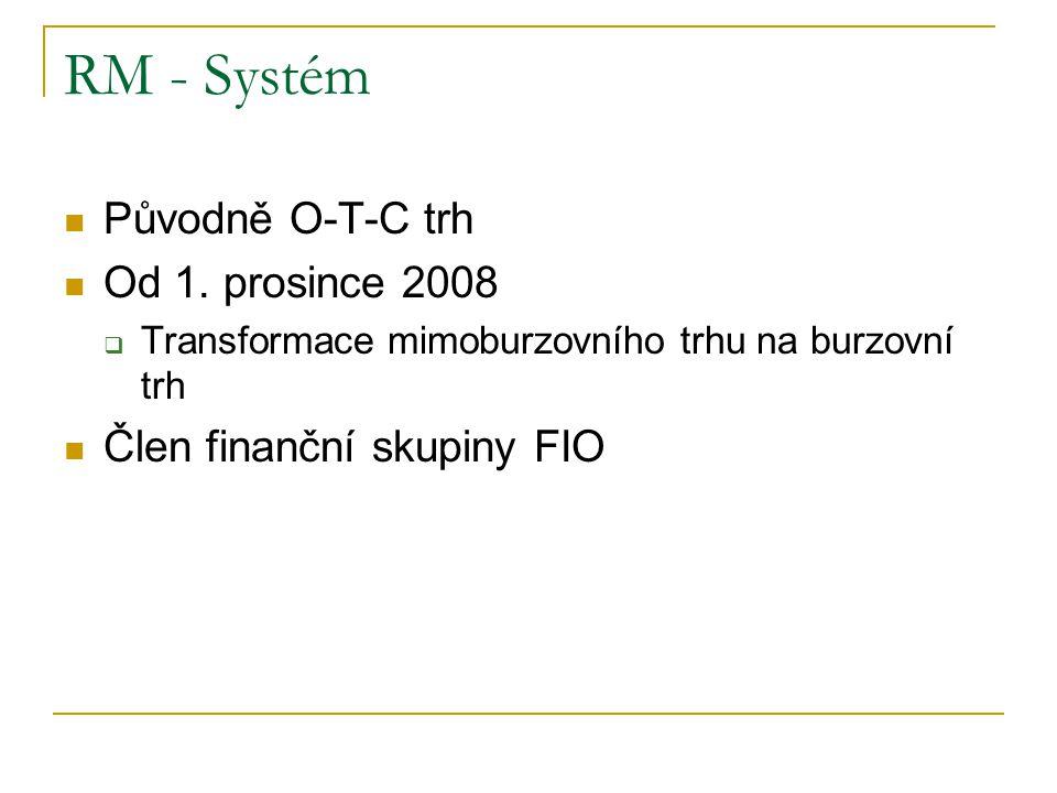 RM - Systém Původně O-T-C trh Od 1. prosince 2008  Transformace mimoburzovního trhu na burzovní trh Člen finanční skupiny FIO