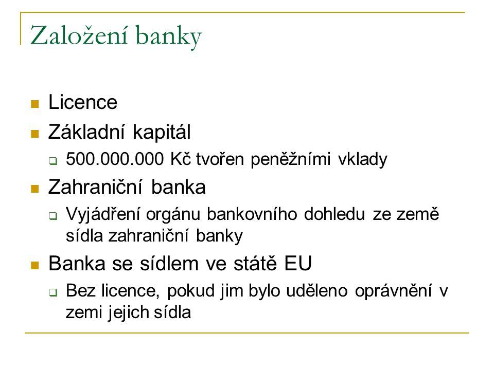 Založení banky Licence Základní kapitál  500.000.000 Kč tvořen peněžními vklady Zahraniční banka  Vyjádření orgánu bankovního dohledu ze země sídla