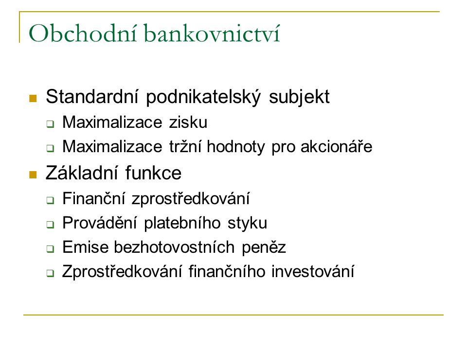 Obchodní bankovnictví Standardní podnikatelský subjekt  Maximalizace zisku  Maximalizace tržní hodnoty pro akcionáře Základní funkce  Finanční zpro