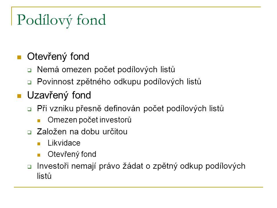 Podílový fond Otevřený fond  Nemá omezen počet podílových listů  Povinnost zpětného odkupu podílových listů Uzavřený fond  Při vzniku přesně defino