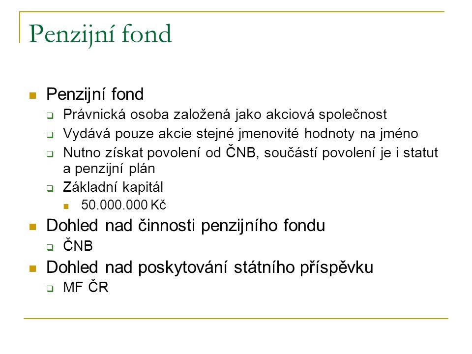 Penzijní fond  Právnická osoba založená jako akciová společnost  Vydává pouze akcie stejné jmenovité hodnoty na jméno  Nutno získat povolení od ČNB