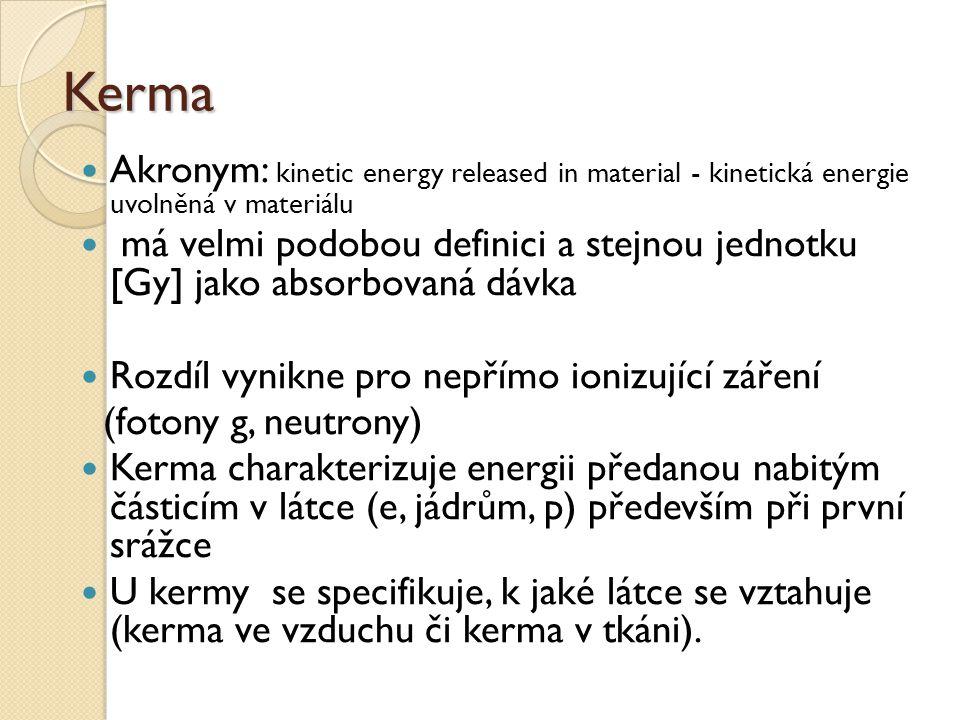 Kerma Akronym: kinetic energy released in material - kinetická energie uvolněná v materiálu má velmi podobou definici a stejnou jednotku [Gy] jako abs