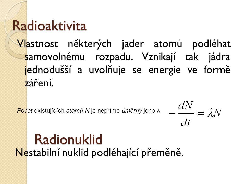 Radioaktivita Vlastnost některých jader atomů podléhat samovolnému rozpadu. Vznikají tak jádra jednodušší a uvolňuje se energie ve formě záření. Nesta