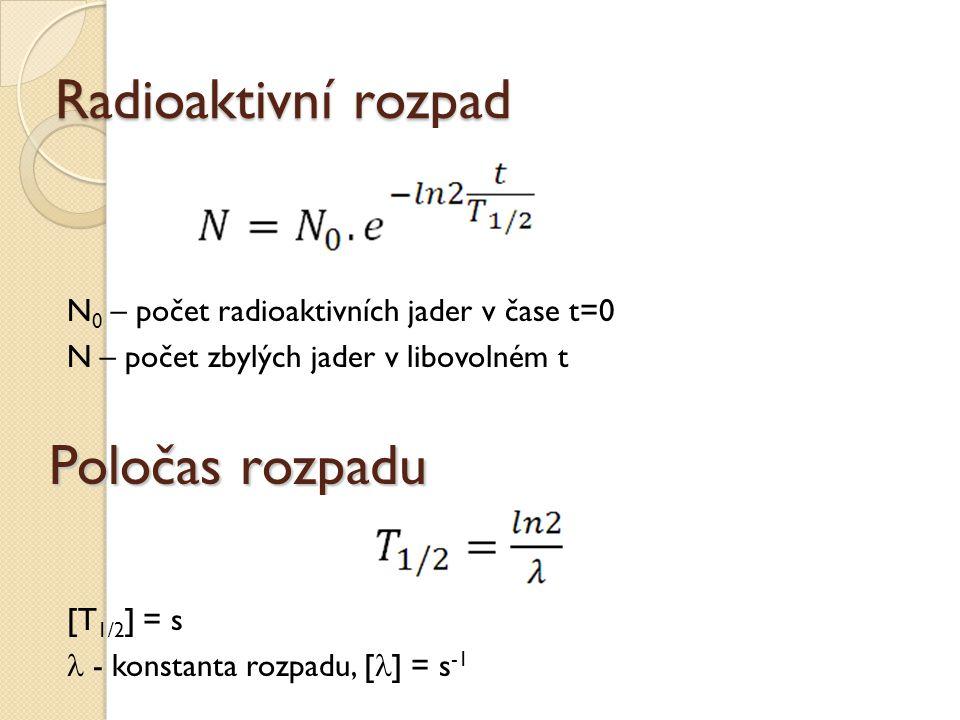 Radioaktivní rozpad N 0 – počet radioaktivních jader v čase t=0 N – počet zbylých jader v libovolném t Poločas rozpadu [T 1/2 ] = s - konstanta rozpad