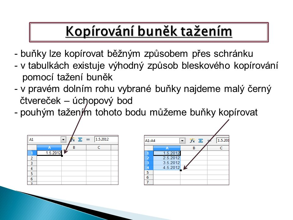 Kopírování buněk tažením - buňky lze kopírovat běžným způsobem přes schránku - v tabulkách existuje výhodný způsob bleskového kopírování pomocí tažení