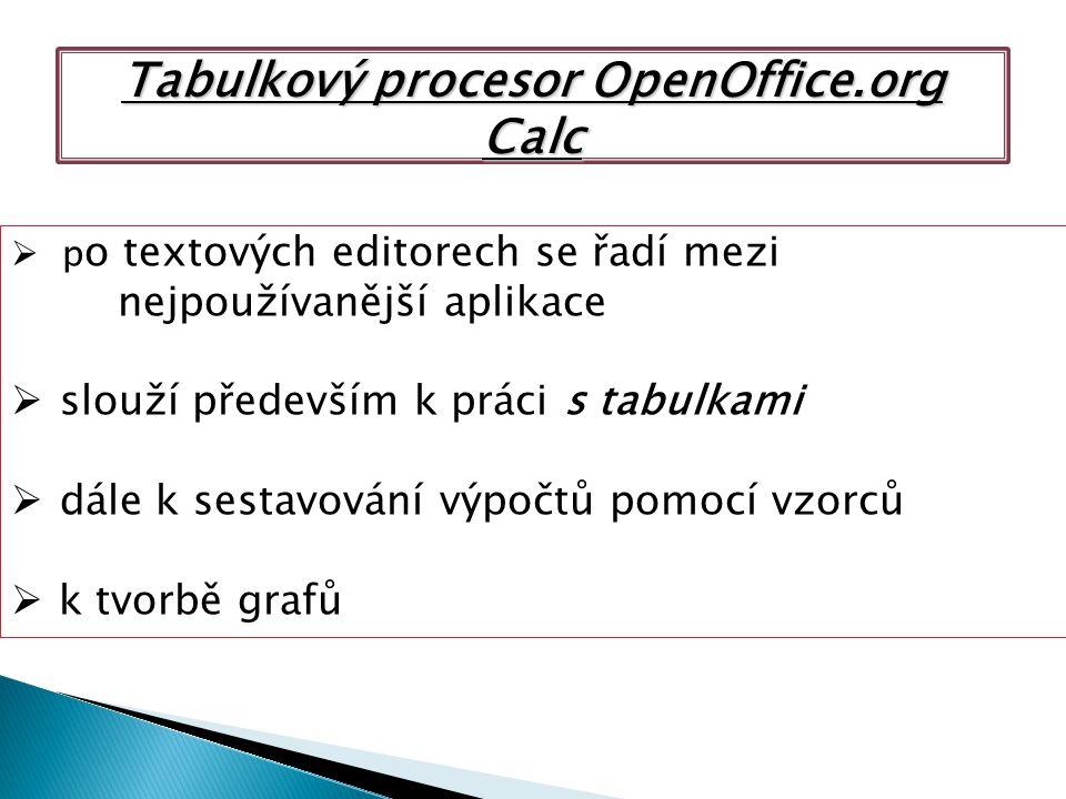 Tabulkový procesor OpenOffice.org Calc  p o textových editorech se řadí mezi nejpoužívanější aplikace  slouží především k práci s tabulkami  dále k sestavování výpočtů pomocí vzorců  k tvorbě grafů