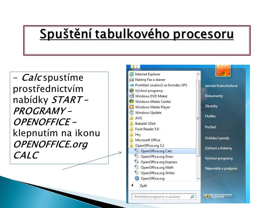 Spuštění tabulkového procesoru - Calc spustíme prostřednictvím nabídky START – PROGRAMY – OPENOFFICE - klepnutím na ikonu OPENOFFICE.org CALC