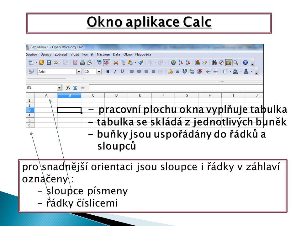 Okno aplikace Calc - pracovní plochu okna vyplňuje tabulka - tabulka se skládá z jednotlivých buněk - buňky jsou uspořádány do řádků a sloupců pro snadnější orientaci jsou sloupce i řádky v záhlaví označeny : -sloupce písmeny -řádky číslicemi